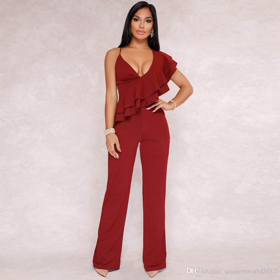 d0e72fab2583 Sexy Rompers Womens Jumpsuit Spaghetti Strap Ruffles Deep V Neck Club Party  Wide Leg Pants Black Overalls Full Bodysuit