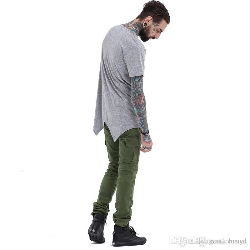 ced08220e7d KANYE West Tshirts Summer Men Simple Grey Long Tees Back Design Front  Zipper Casual Loose Tees Tops Coolest T Shirt Shirts With Designs From  Bunye