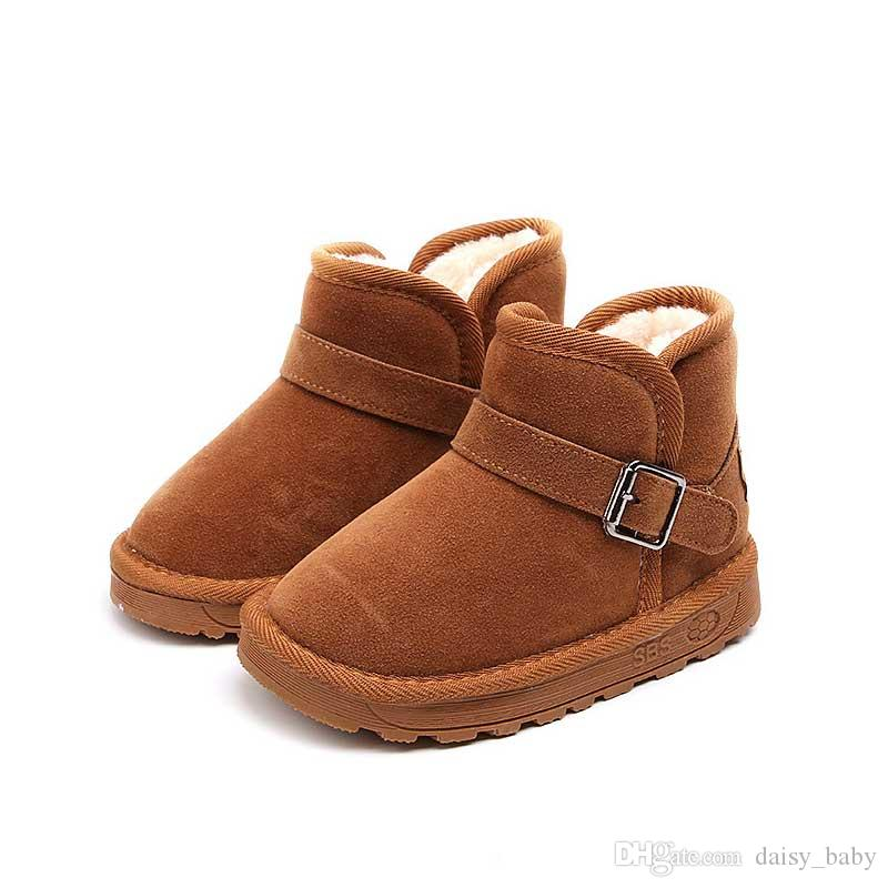 Snow Boots Kids Winter Genuine Leather Boots For Girls Boys Footwear Fur Buckle Shoes Children Boots With Fur Warm Botas #13