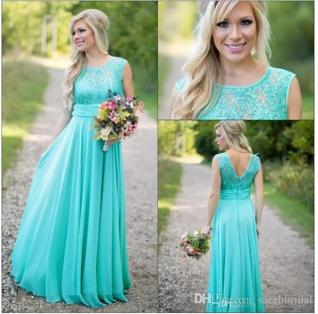 새로운 도착 플로어 길이 형편없는 신부 들러리 드레스 특종 웨딩 게스트 드레스 시폰 V 뒤로 파란색 레이스 긴 신부 들러리 드레스
