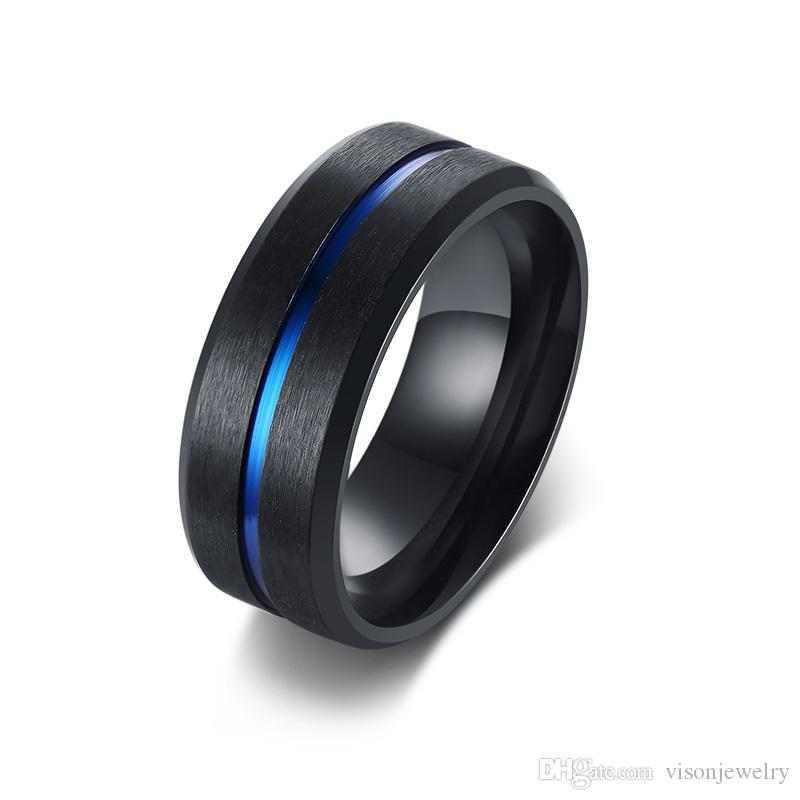 Free Engraving 8mm Blue Inlay Black Brushed Anniversary Rings in Stainless Steel Comfort Fit Wedding Band