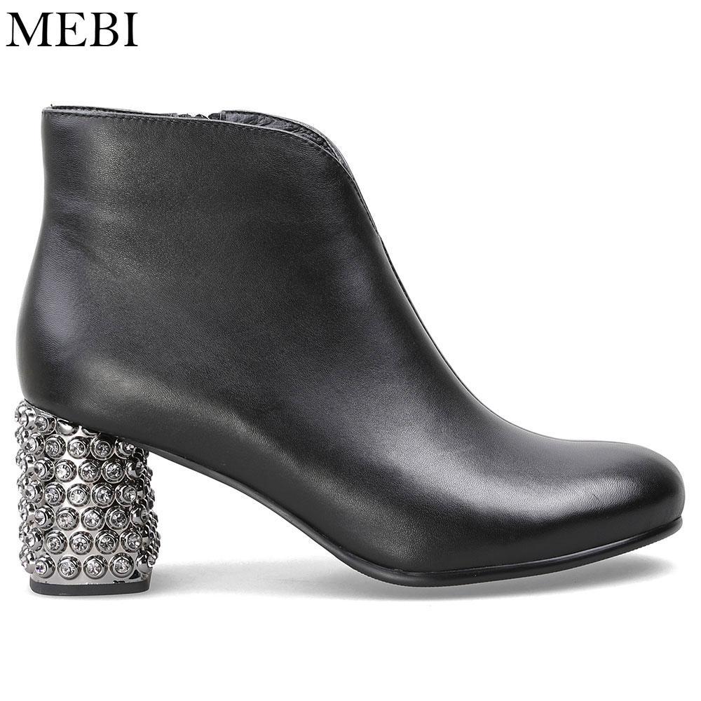 MEBI Rhinestones Topuk Çizmeler Gümüş Yüksek Topuklar Kadın Ayak Bileği Çizmeler Sonbahar Bahar Lüks Hakiki Deri Ayak Bileği Moda Patik