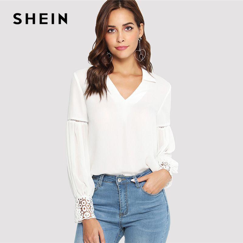 SHEIN Laser Cut Insert Guipur Blusa con mangas de encaje Blanco V Neck con manga larga recortada Tops Mujeres Autumn Elegant Workwear Shirt