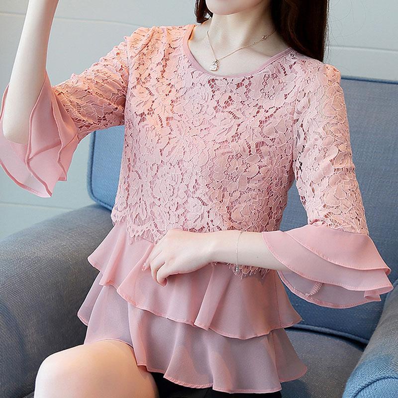 occasionnels femmes sexy blouse en dentelle creux à manches longues en mousseline de soie chemisier chemise blouses femme de mode 2018 blusa feminina femmes chemise A94