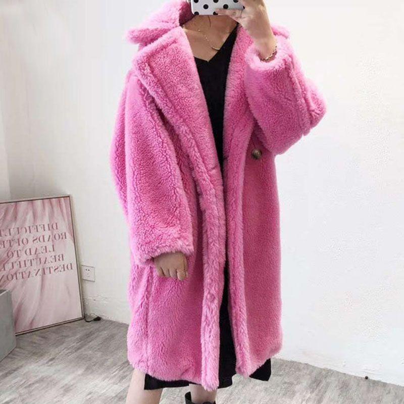 2021 Real Wool Fur Coat Women Winter, Pink Teddy Bear Faux Fur Coat
