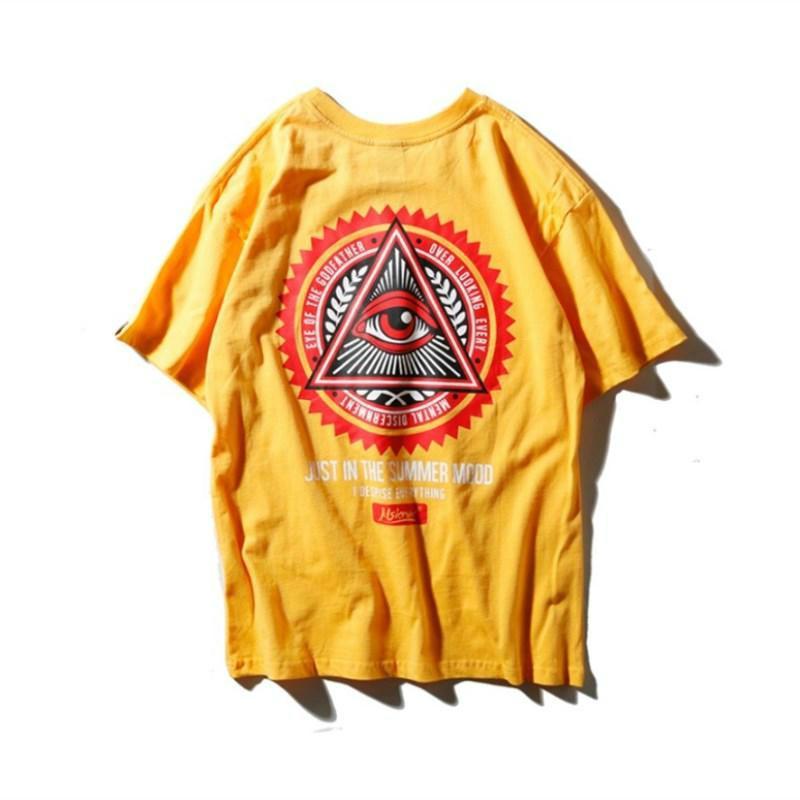 2018 Fashion Hip-hop Style Men Women Loose Tshirt Cotton Blend Triangular Eye Pattern Printing Round Collar Leisure Short Sleeved T Shirts