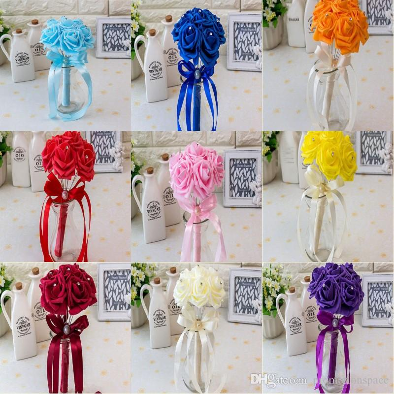 20 colors Bridal Wedding Bouquet Wedding Decoration Artificial Bridesmaid Flower Cheap Bride Holding Flower CPA1560
