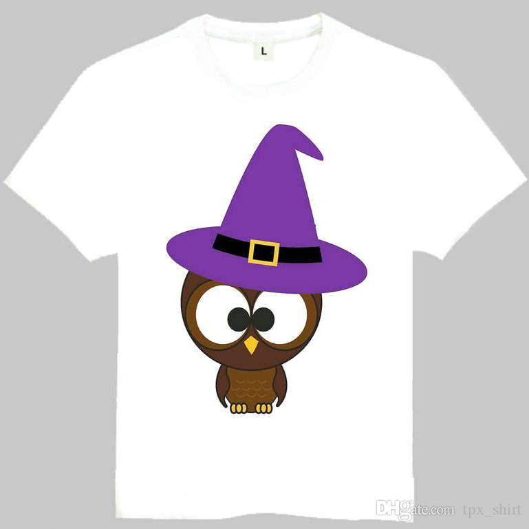 Owl t shirt Cute bird short sleeve gown Cartoon animal tees Leisure gray white clothing Quality cotton Tshirt