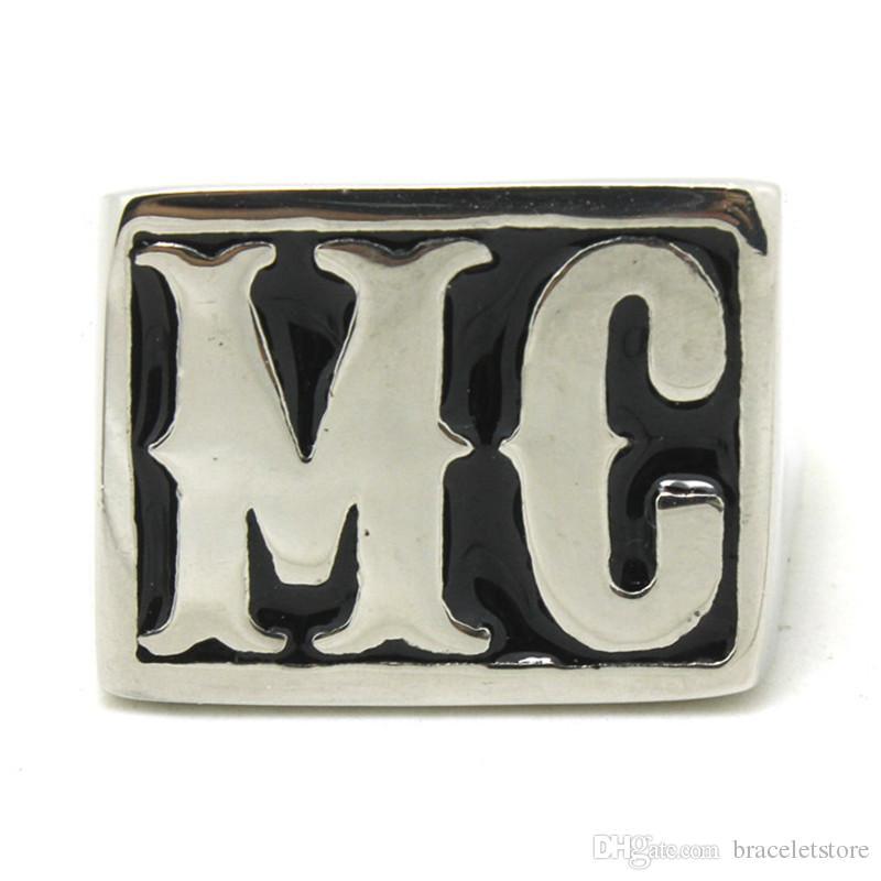 4 unids / tamaño de lote 8-14 MOTORBIKER MC FOOL ANILLO 316L Joyería de acero inoxidable de acero inoxidable Hot Selling Style Mc Ring