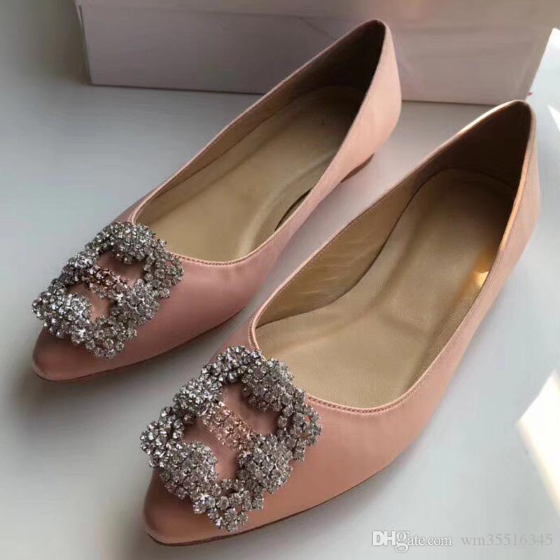 한판은 다이아몬드 플랫 신발 여성 신발을 지적 새로운 봄 / 여름 패션 신발 버클 실크와 새틴 얕은 입 농담 size35-