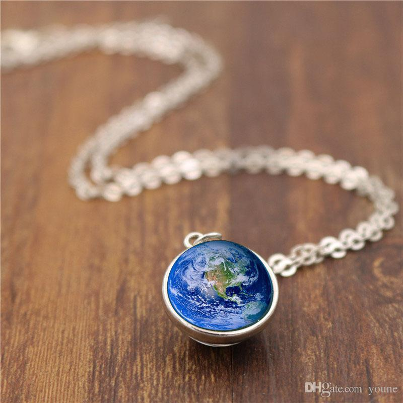 Hot! 10pcs 3 size Earth Photo Glass Cabochon Double Sided Pendant Necklace Women Vintage Jewelry Gift for Girl 2 Color