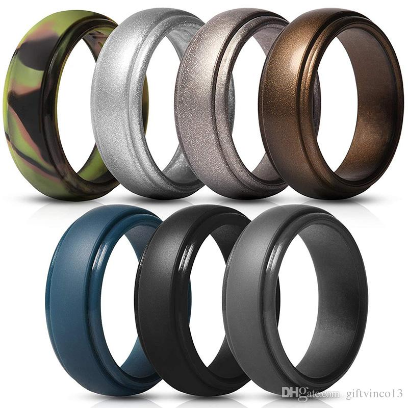 2020 Mens Silicone Rings Rubber Wedding Bands Flexible Silicon