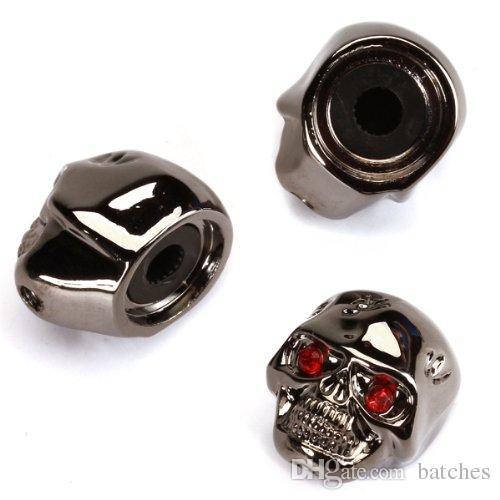 3pcs Electric Guitar Skull Head Volume Control Knobs---Black