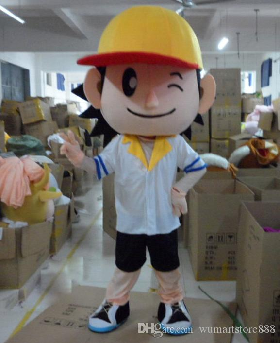 Beyzbol Boys Maskot Kostümleri Animasyonlu tema büyük göz çocuk Cospaly Karikatür maskot Karakter yetişkin Cadılar Bayramı Karnaval parti Kostüm