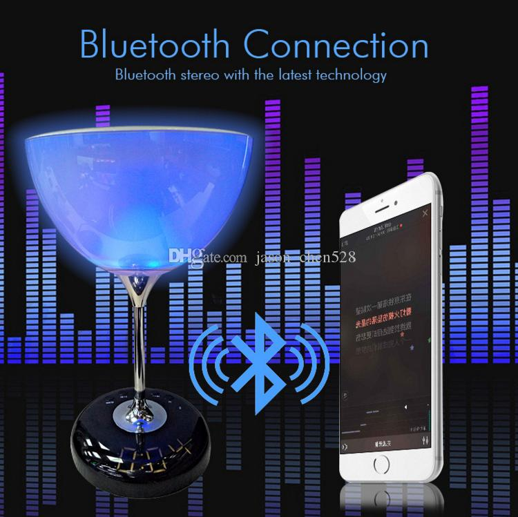 JY-35C Touch Light bluetooth speaker Wine glass LED speaker with led color light and led Display screen TF card cheap wireless speaker