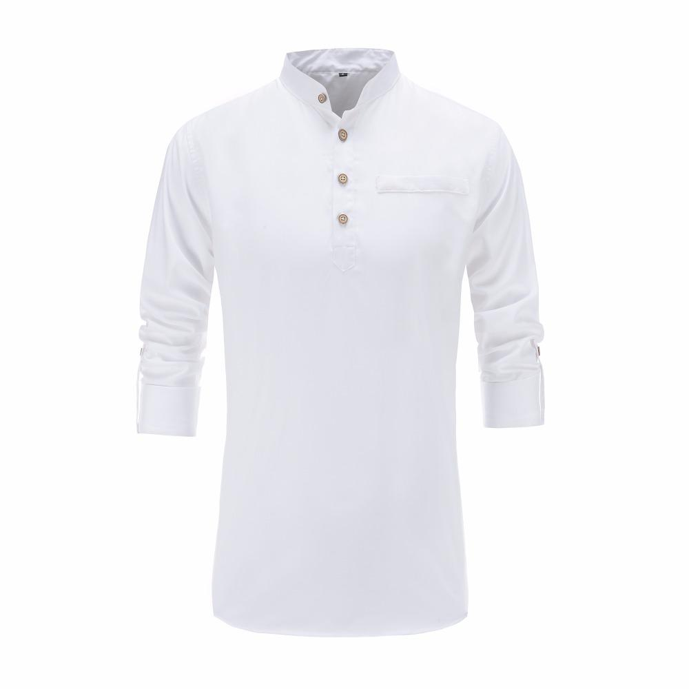 2018 Verano de los hombres camisa de algodón de manga larga del cuello del mandarín Slim Fit camisa para hombre de estilo chino transpirable camisas de vestir hombres ropa