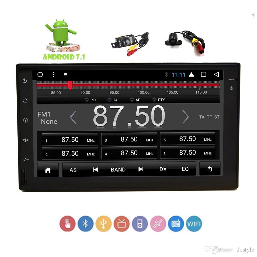 안드로이드 7.1 대시 GPS 네비게이션 자동차 플레이어 블루 스테레오 더블 Din 블루투스 와이파이 4 세대 OBD2 7 ''용량 성 멀티 터치 스크린 라디오 HeadUnit