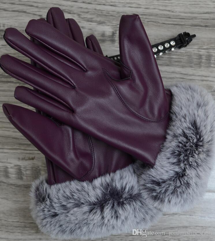 الخريف والشتاء السيدات شاشة تعمل باللمس قفازات جلدية صامد للريح دافئ بالإضافة إلى المخمل قفازات بو الجلود خمسة أصابع قفازات 003