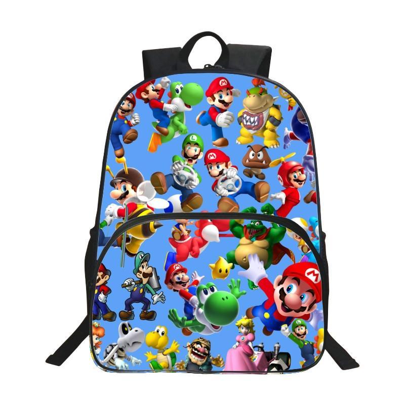 새로운 스타일의 핫 옥스포드 16 인치 인쇄 슈퍼 마리오 아이 학교 가방 십대 배낭 만화 Bookbag 어린이 Schoolbag Y18100704