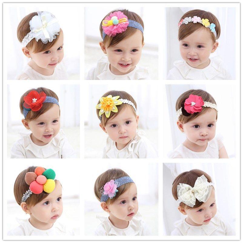 Lovely Newborn Baby Kids Lace Flower Headwear Hair Decor Headdress Headband ZJP