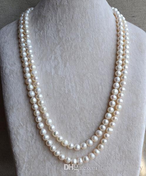 Lungo perla gioielli, 50inches 8-9mm di colore bianco lungo d'acqua dolce collana di perle, da sposa regalo per le donne