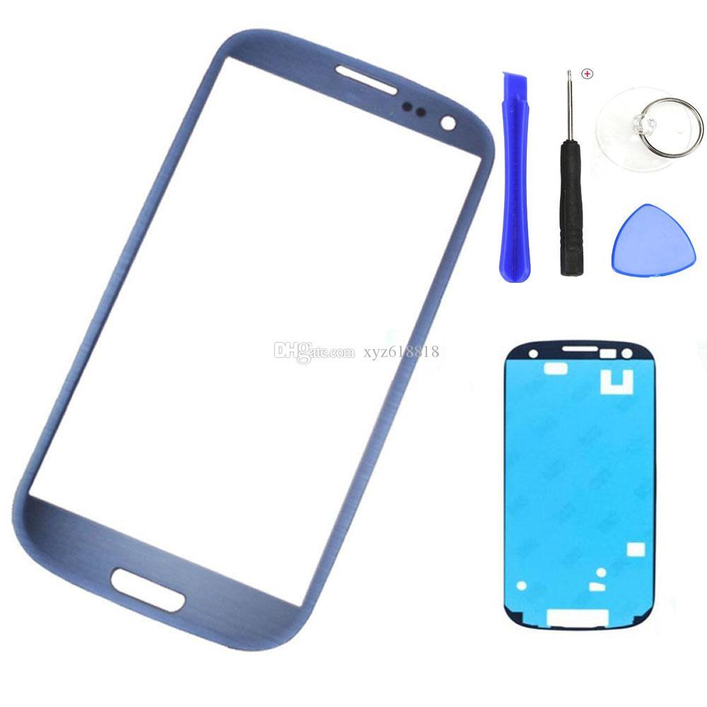 استبدال الخارجي عدسة زجاج لوحة سامسونج S3 I9300 I9305 شاشة لمس LCD جبهة الزجاج الخارجي + لاصق ملصق + أدوات