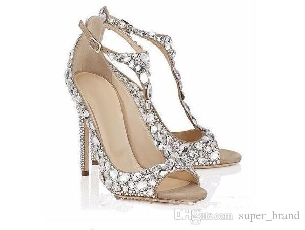 Scarpe Gioiello Sposa.Luxury Diamond Wedding Shoes Jeweled Heel Gladiator Sandals Women