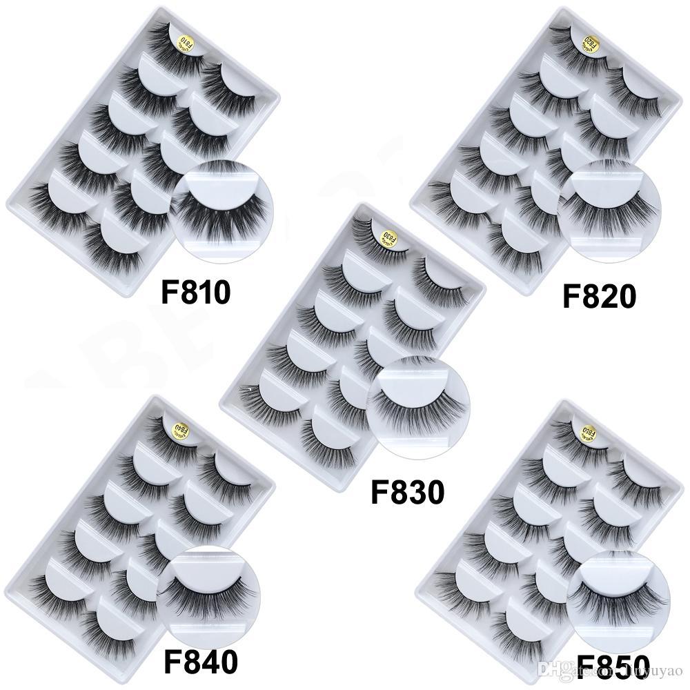 3D Vizon Kirpik Saç 5 Çift Yanlış Kirpik Uzatma Kirpik Hiar Tam Şerit Göz Lashes Tarafından kimyasal elyaf DHL