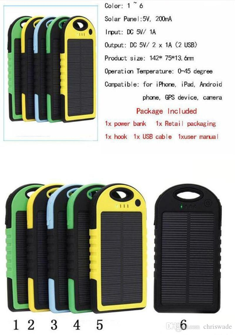 Carregador de energia solar 5000mAh Bateria painel solar à prova d 'água à prova de choque À Prova de Poeira banco de potência portátil para Celular Celular Laptop Câmera USB