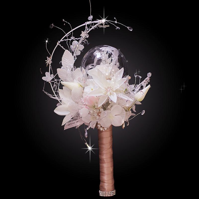High-end özel güzel ay tarzı beyaz ortanca kristal gelin düğün gelin buketi