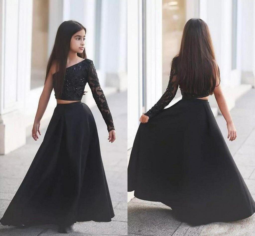 Black 2 Piece Pageant à manches longues robes fille 2019 Une ligne Fleur De Filles pour les mariages Zipper Retour ados anniversaire Robes formelles