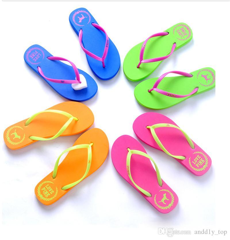 7 cores rosa Meninas Virar Praia Chinelos rosa do amor rosa dos falhanços Sandals Carta Shoes Verão Praia macia Slipper 2pcs / pair