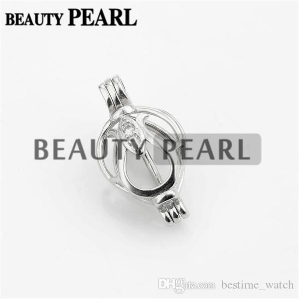 Bulk of 3 Pieces Flower Buds Cage Locket Wishing Pearl Gift 925 Sterling Silver Cage Pendant