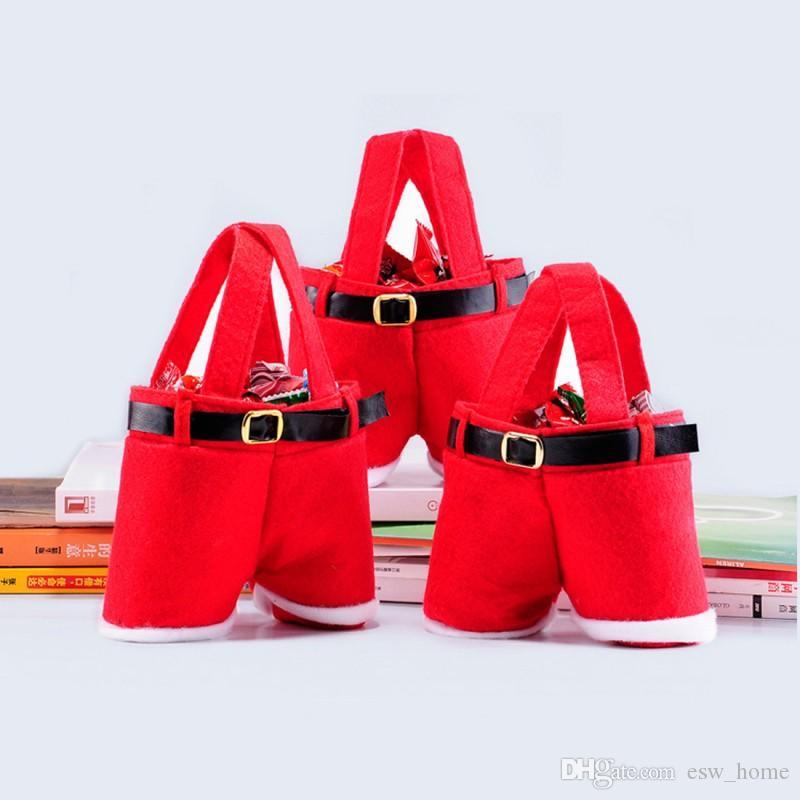 Santa pantolon tarzı Noel şeker hediye çantası Xmas şarap şişesi Çantası Hediye Noel Şeker Paketleme Çantası Pazen stokta