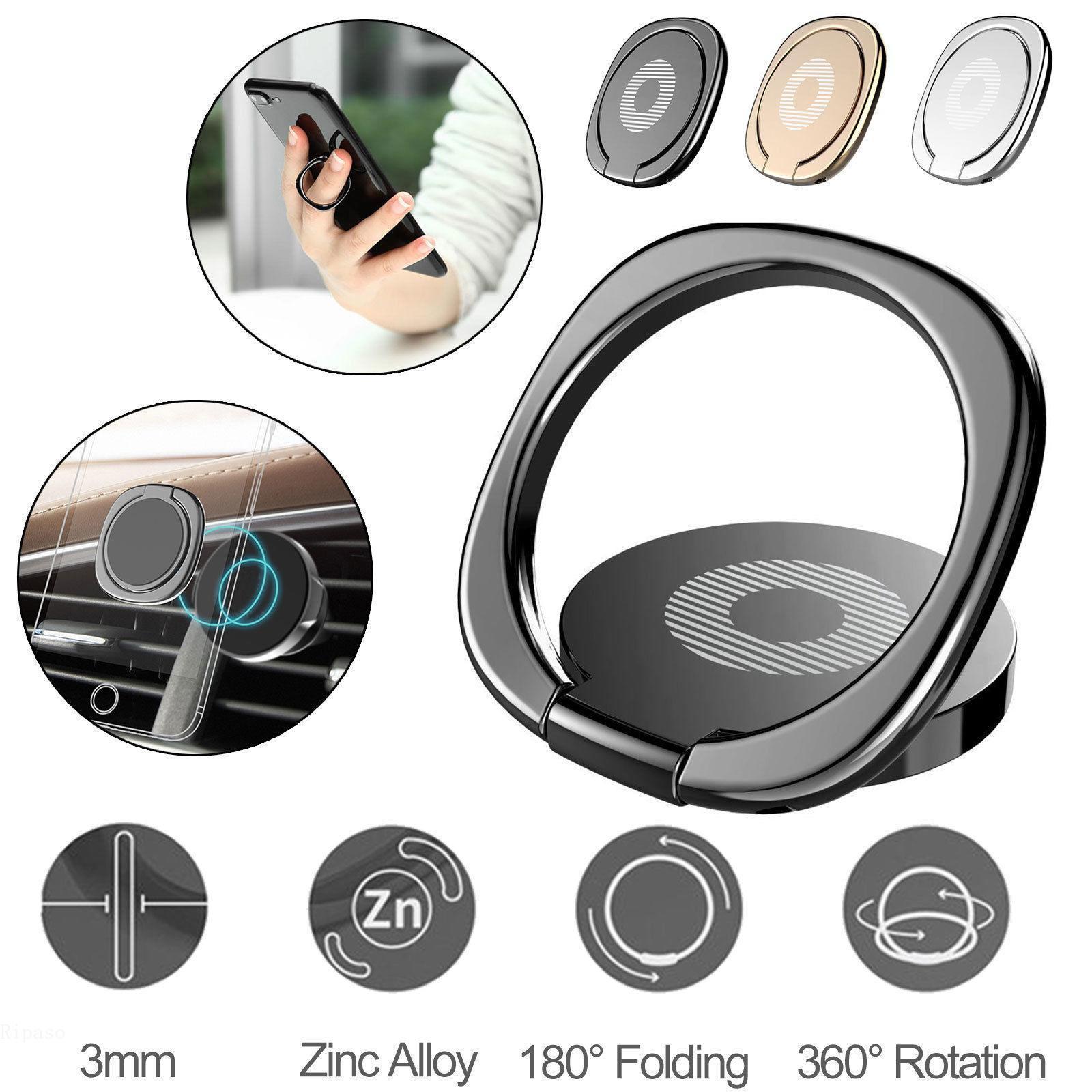 Soporte del teléfono del soporte del anillo del dedo de 360 ° Soporte del escritorio Soporte magnético del teléfono de la placa de metal del coche Soportes del teléfono inteligente
