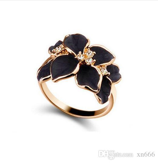 Hotting Sale Jewelry Ring With Rose Gold Color Austrian Crystal Black Enamel Flower Wedding Rings For Women