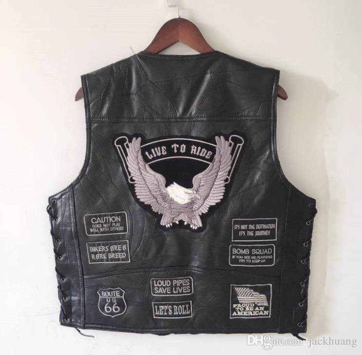 Mens remendo águia preto couro genuíno motocicleta colete + atletismo nos bandeira mc pele de carneiro sem mangas biker jaquetas remendo cinza