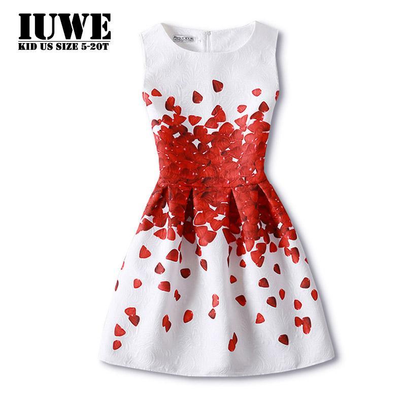 a4d60c248dff12b Девушка платья для девочек 13 лет Лето Dress2017 дети печати красный любовь  Принцесса платье девушки костюмы