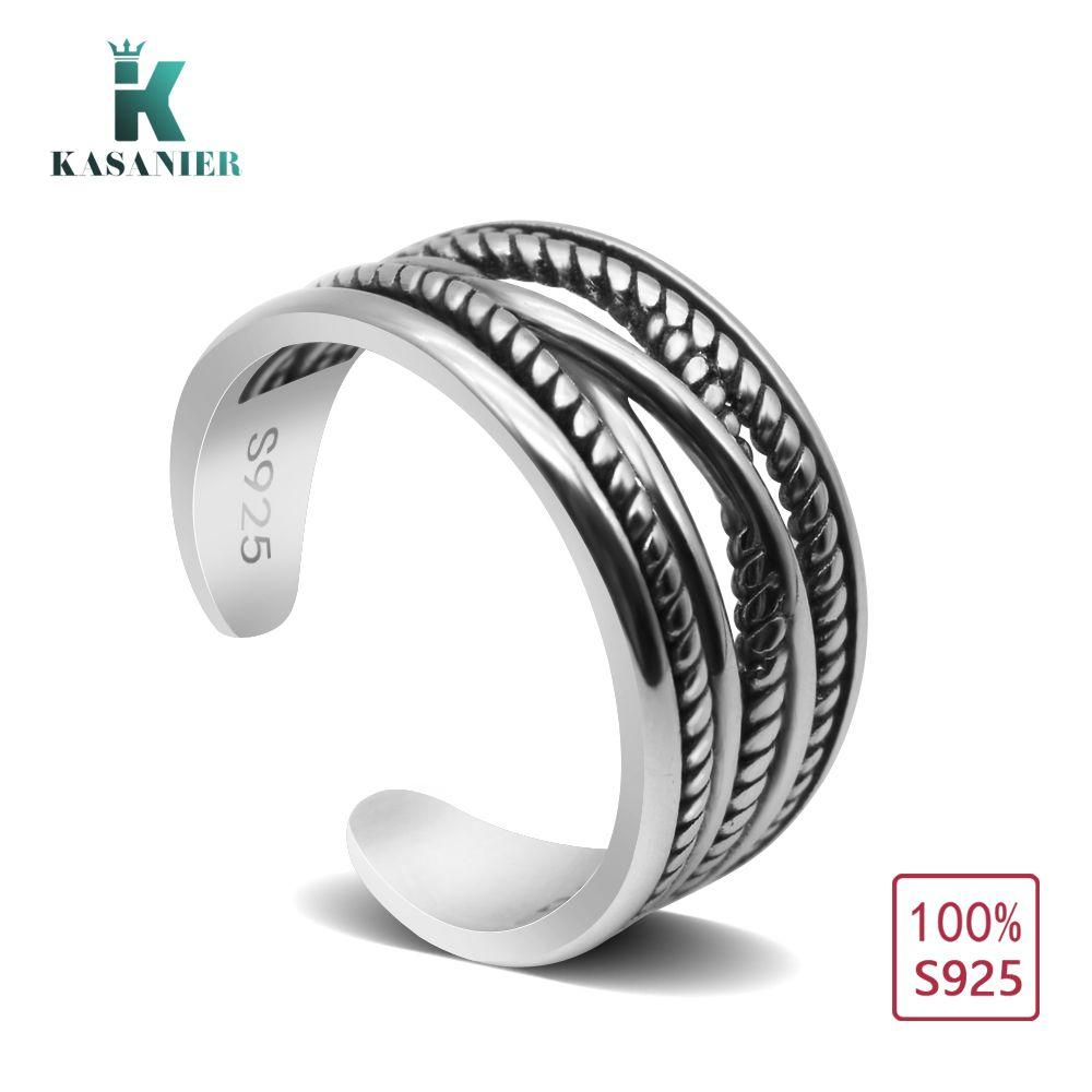 KASANIER 1 stücke 100% 925 sterling silber ring Mode Unisex Persönlichkeit Pure siver Ringe öffnung ringe K-JZ0111