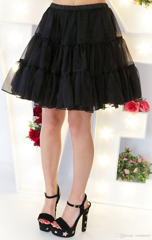 أسود قصير التنورة الداخلية قماش قطني الزفاف خمر التنورة الداخلية لفساتين الزفاف تحتية روكبيلي توتو