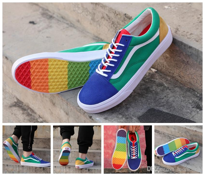 New 2018 Old Skool Rainbow Casual Running Sneakers Best Quality Designer Colorful Soles Men Women Skateboarding Shoes US 4.5 10.5 Black Shoes