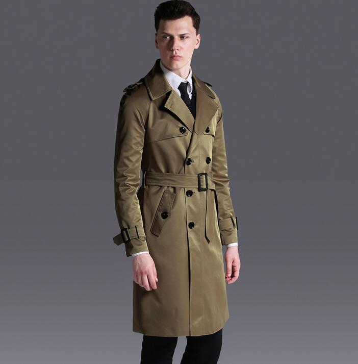 Wholesale- Double breasted trench coat mens medium-long coat 2017 spring autumn loose raglan sleeve fashion plus size mens overcoat 6XL