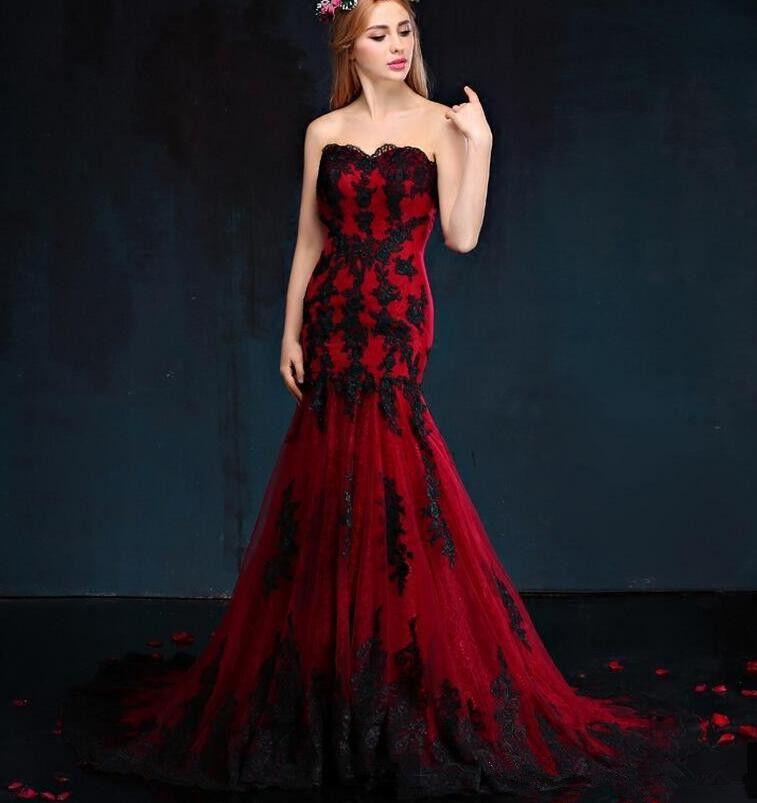 Nero e rosso gotico abiti da sposa sirena Vestido de Novia 2019 nuovo custom made applique tulle sweetheart abiti da sposa paese del merletto w865