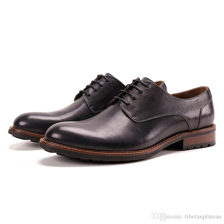 High Quality Genuine Leather Men's Handmade Footwear Round Toe Derby Man Party Flats Formal Dress Shoes For Wedding