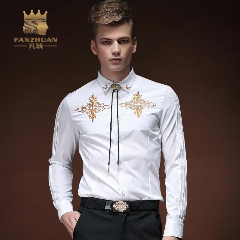 Fanzhuan 2017 جودة جديدة الرجال عارضة القمصان الفاخرة فستان الزفاف قميص العريس الزواج الأبيض بأكمام طويلة قميص الرجال اللباس