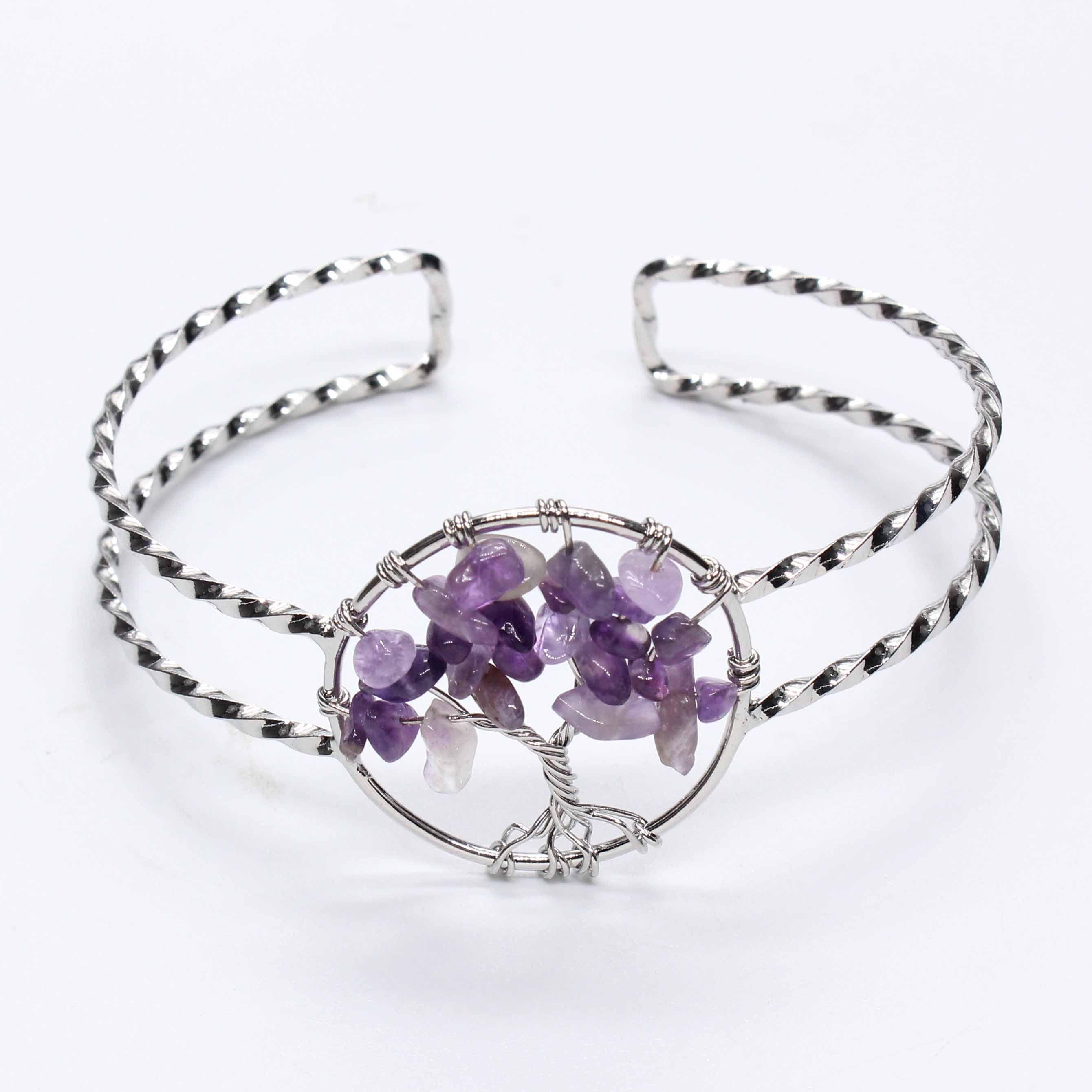 Wholesale 10 Pcs Silver Plated Olivine Green Aventurine Tree of Life Bangle For Female Rainbow Stone Jewelry