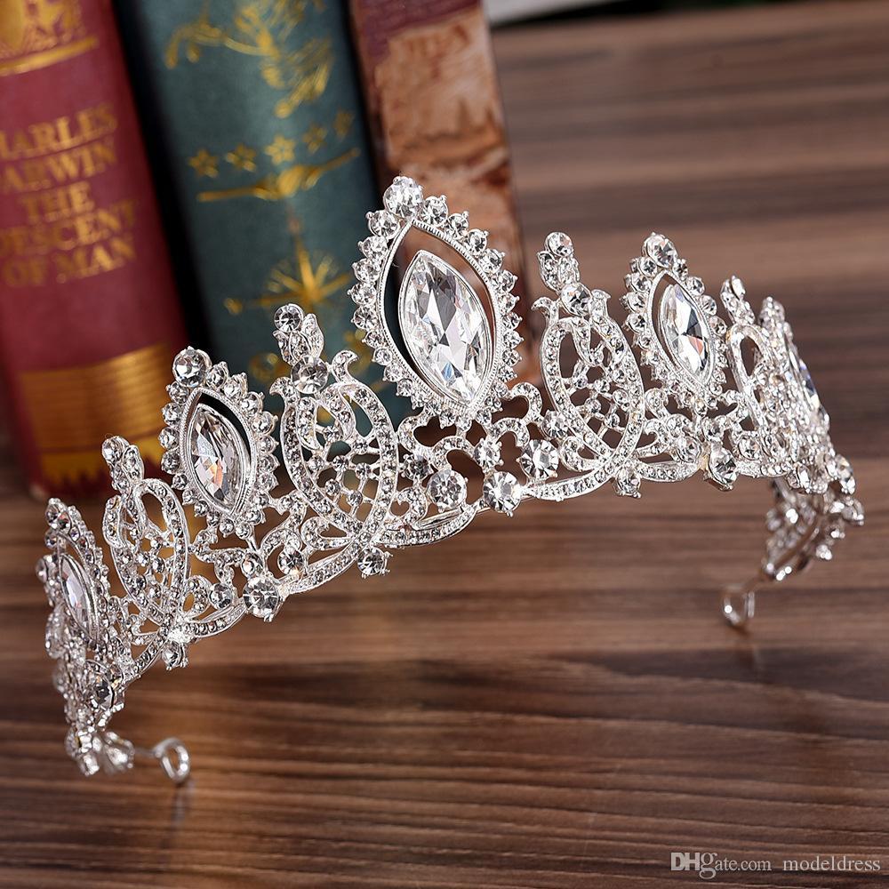 2020 Royal Crystals Wedding Crown Bridal Tiara Crown Clear Royal Blue Red Silver Clear Rhinestone Crown Wedding Accessories Cheap
