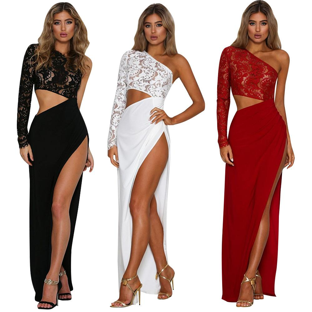 Women Sexy Lace Long Sleeve 2Pc Dresses Inclined Shoulder Floral Embroidered Hollow Crop Top High Split Skirt Set Party Prom Maxi Dress