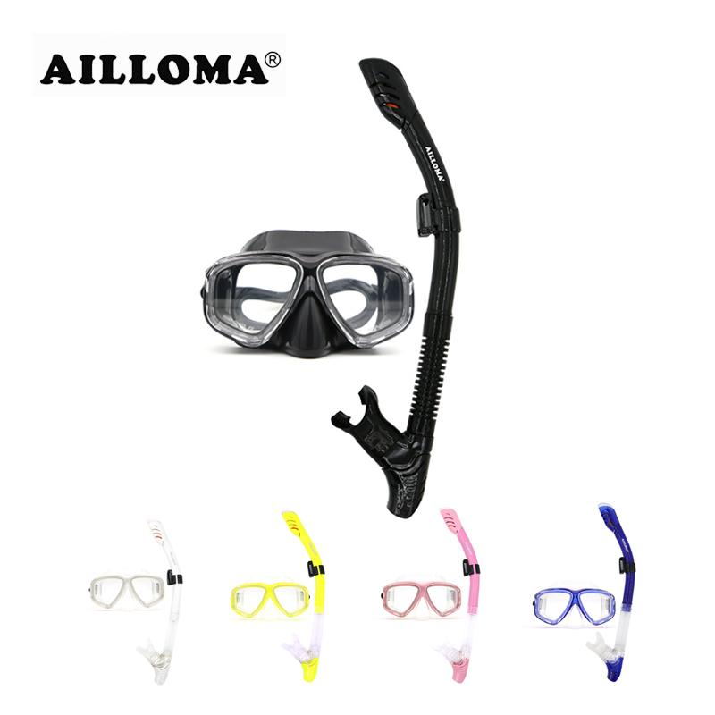 Ailloma profissional máscara de mergulho tubo de silicone à prova d 'água anti nevoeiro mergulho máscara de mergulho e snorkels