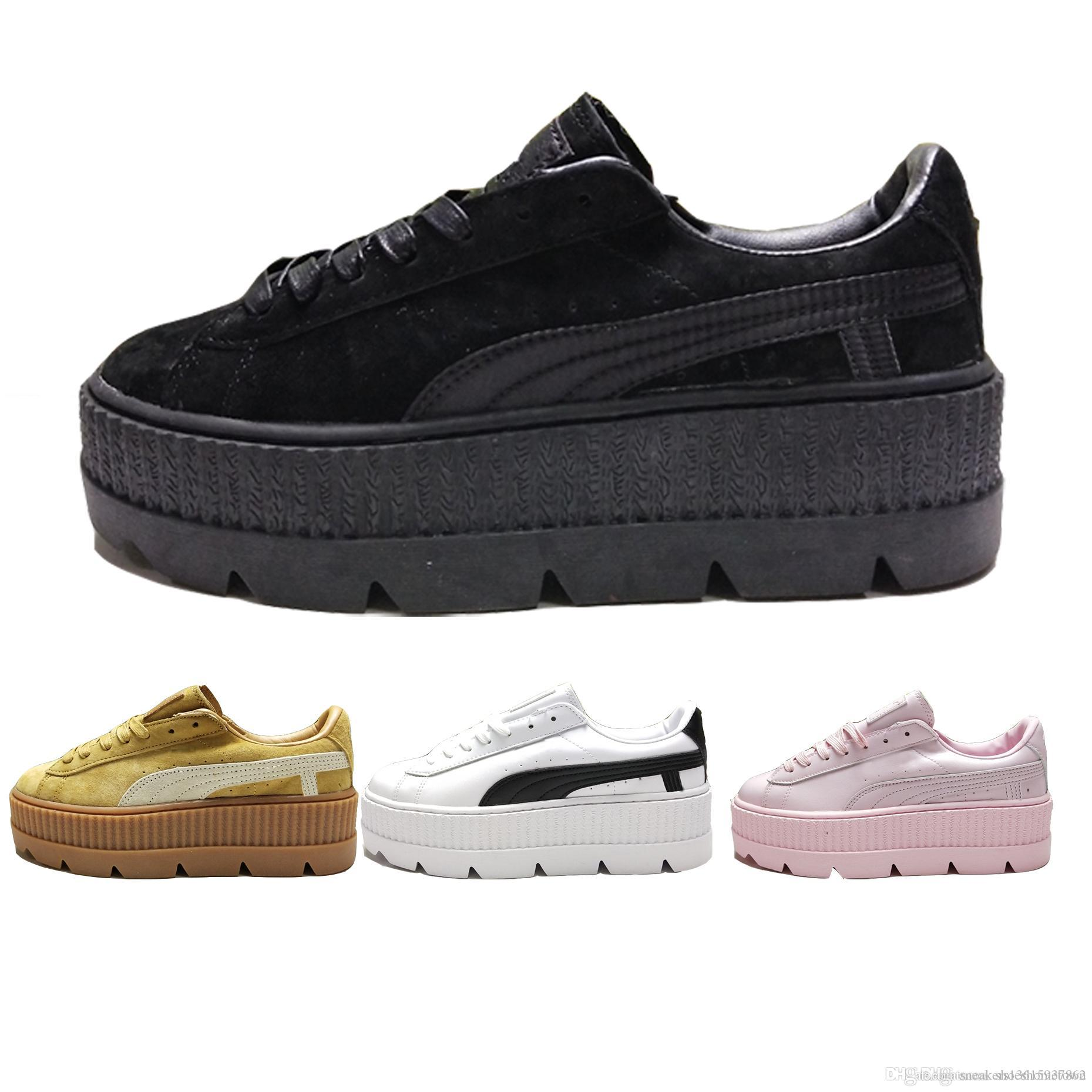 promo code 4daca a6ac9 NEW Suede Rihanna PUM Fenty Cleated Creepers Classic Platform Casual Shoes  Women Fasion Footwear Sneakers Black Pink White Wheat Size 36 39 Sneakers  ...